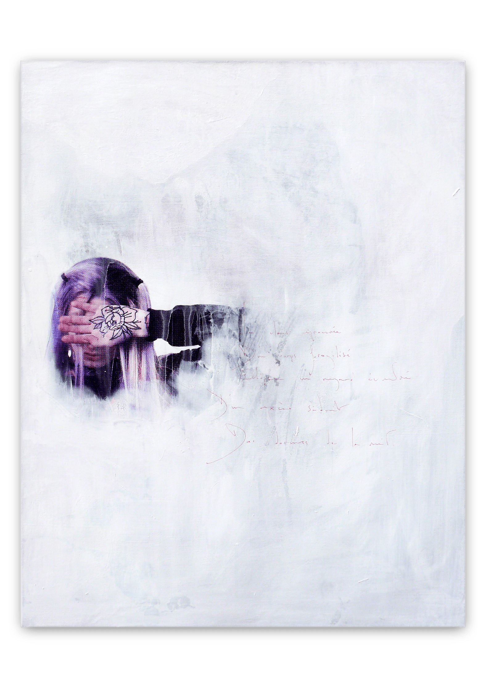 white nights | Acrylic, Aerosol spray and Silkscreen ink on canvas . 34,5 x 27 inches · 87 x 69 cm . MMXIX