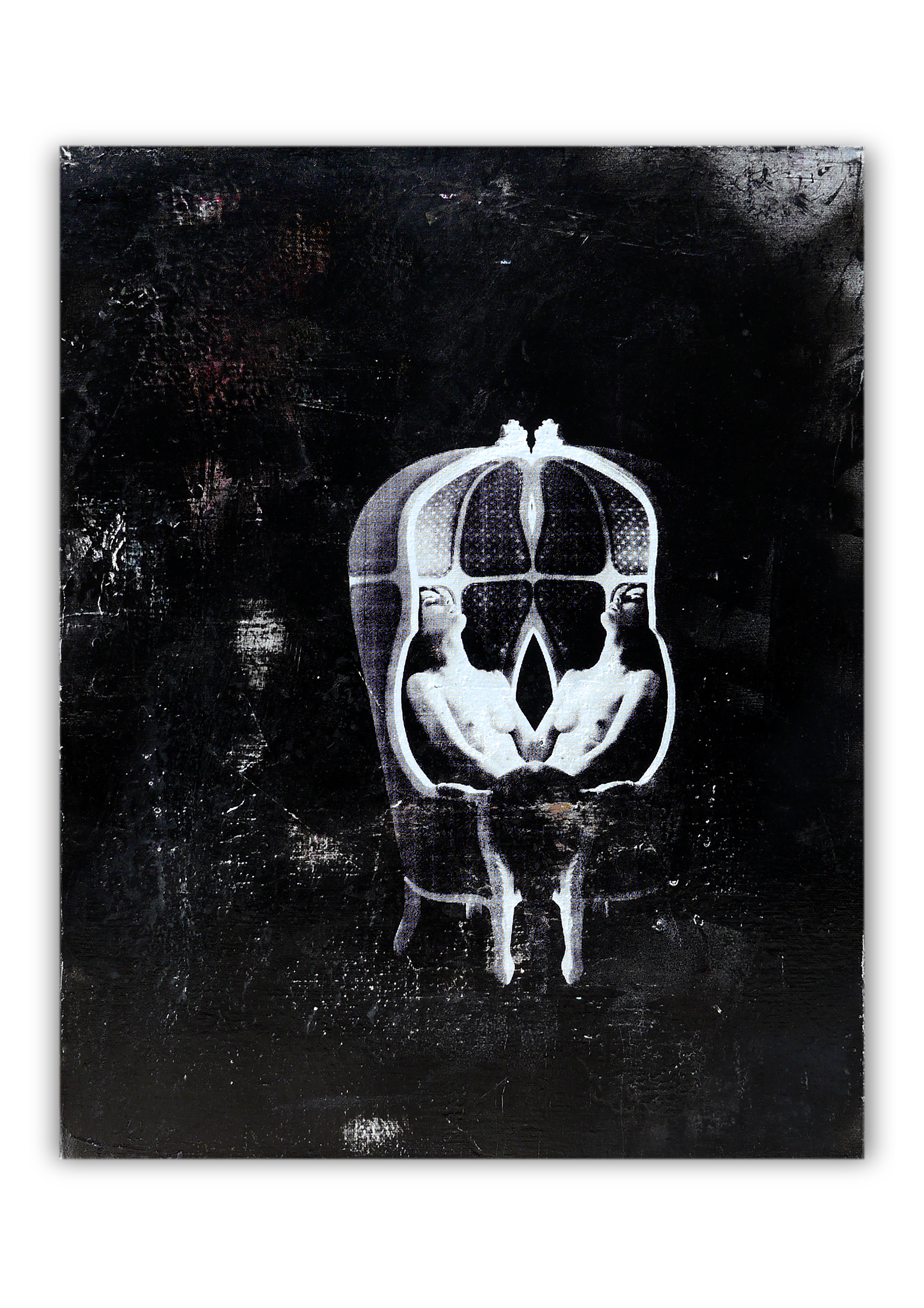 La petite mort | Acrylic, Aerosol spray and Silkscreen ink on canvas . 16 x 20 inches · 40 x 50 cm . MMXX