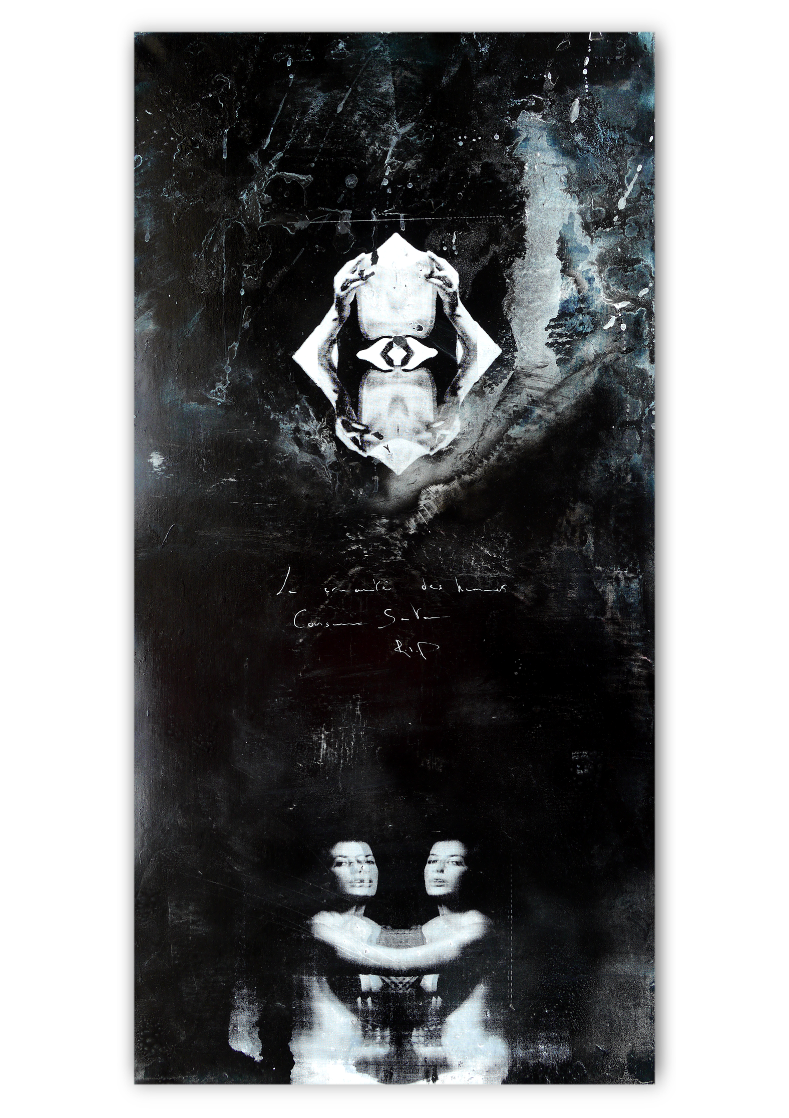 with サタン | Acrylic, Aerosol spray and Silkscreen ink on canvas . 20 x 39 inches · 50 x 100 cm . MMXX